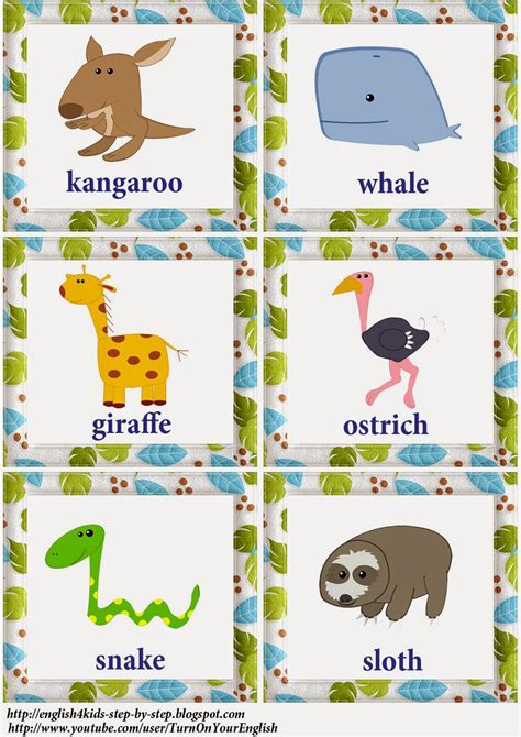 wild animals 1 flashcard i can action verbs song for kids flashcards and