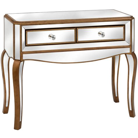 Venetian Mirrored Console Table Venetian Mirrored 2 Drawer Console Table