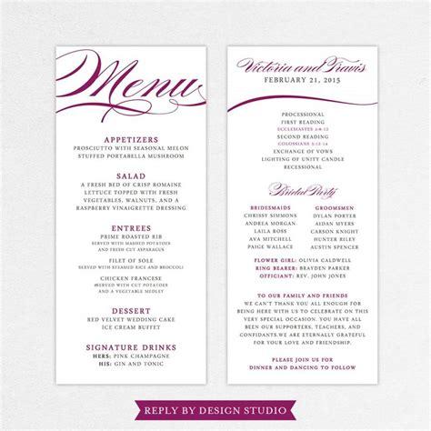 menu design program free wedding menu and program pirouette digital files diy
