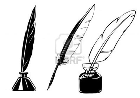 tattoo pen vector vector feather and ink bottle tattoo template cool