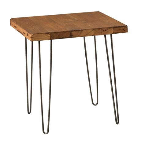 reclaimed end table with hairpin legs