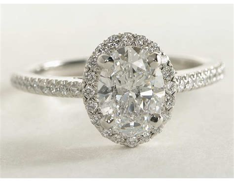 oval halo engagement ring in platinum blue nile