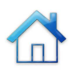 Home Blue Simple Home Shape With Solid Roof Outline Icon 078552