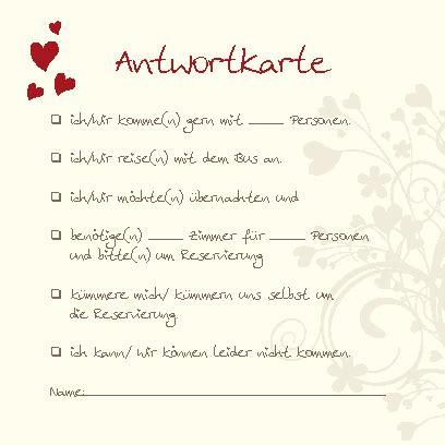 Hochzeitseinladung Antwortkarte by Antwortkarten Herzensangelegenheit