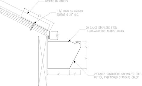 gutter section detail gs 600 series 5 in x 6 in continuous gutter details