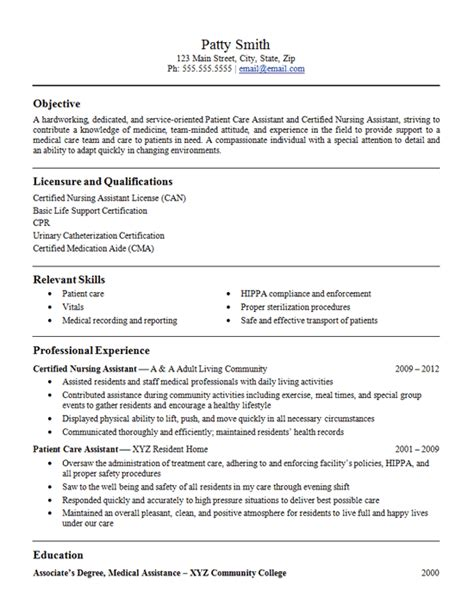 Resume Sles For Nursing Assistant Patient Care Assistant Resume Exle Cna Nursing Assistant