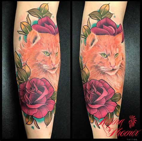 tattoo ginger cat the girl with 4 eyes rising phoenix tattoo