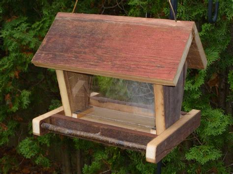 Bird Feeder Barn Rustic Wooden Barn Board Bird Feeder
