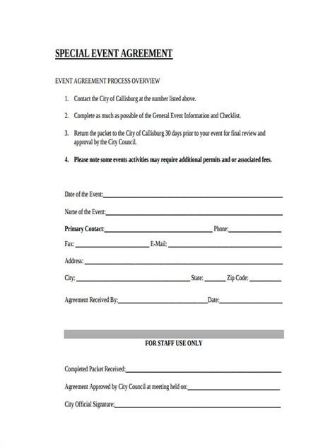 8 Event Agreement Forms Free Sle Exle Format Download Special Event Contract Template