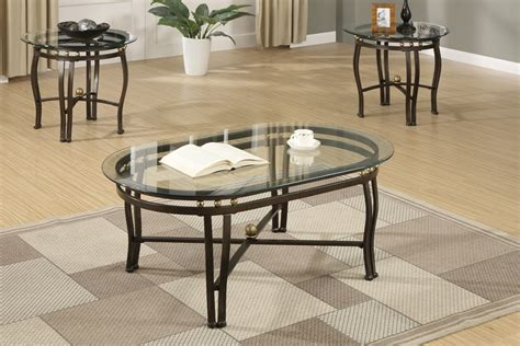 3pc larkin glass top coffee end table set