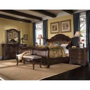 king bedroom sets image: king size corondo  piece wood leather bedroom set by art