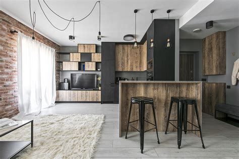 industrial modern interior design small industrial apartment in lithuania gets an inspiring