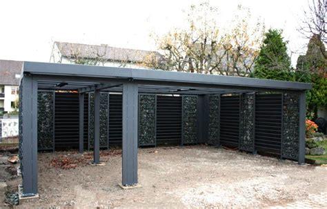 geschlossener carport gabionen carport steelmanufaktur