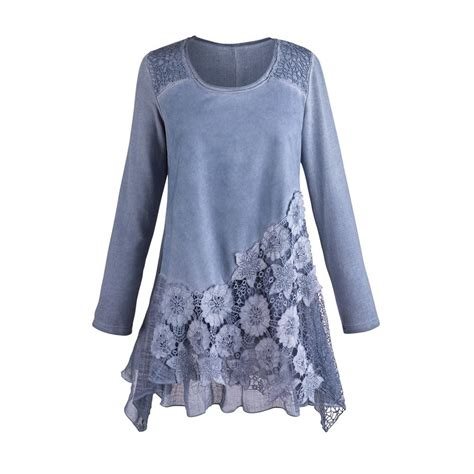 Blue Lace Edges S M L Blouse 45003 s tunic top moonlit garden blue lace blouse xl jet