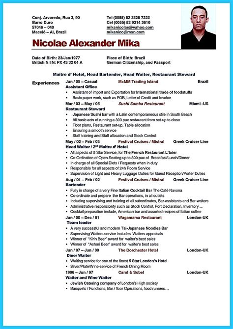 Resume For Bartending Position by Impressive Bartender Resume Sle That Brings You To A