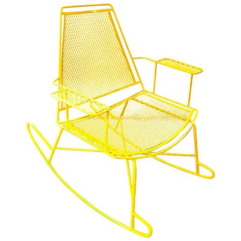 Metal Patio Rocking Chairs Mid Century Metal Mesh Patio Rocking Chair At 1stdibs