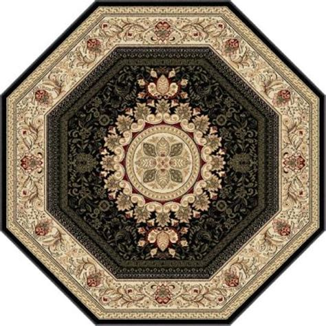 octagon rugs 7 tayse rugs sensation black 7 ft 10 in octagon traditional area rug 4673 black 8 octagon the