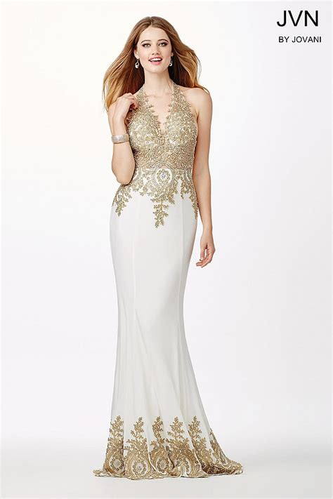 gold and white fitted prom dresses naf dresses fitted backless prom dress with halter neckline