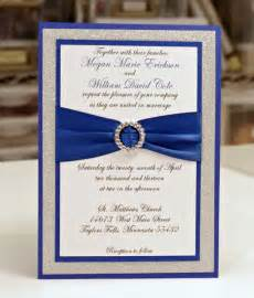 blue and silver wedding invitation with ribbon sang maestro