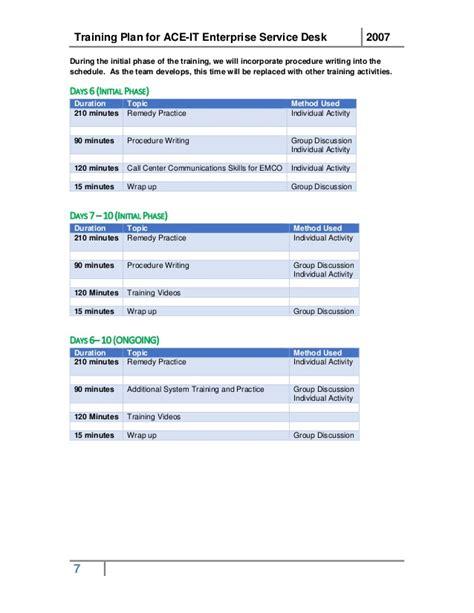 service desk training plan sample training plan