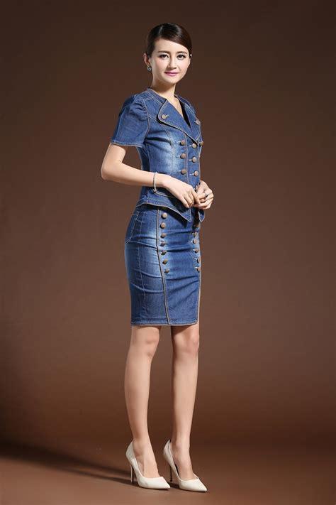 6025 Set With Skirt Import fashion suit dressess vestido 2 set denim jacket skirt costume