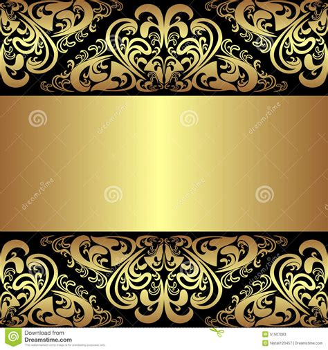 luxury black background with golden royal borders stock