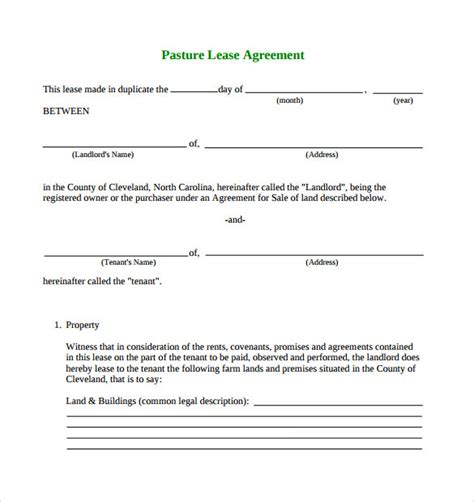 simple lease agreement template pasture lease agreement template 6 free