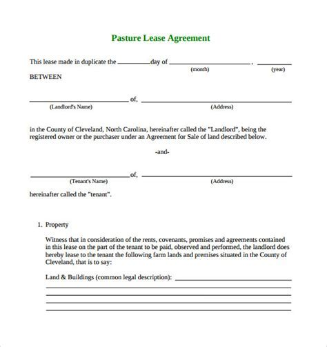 farm lease agreement - Simple Pasture Lease Agreement Free ...