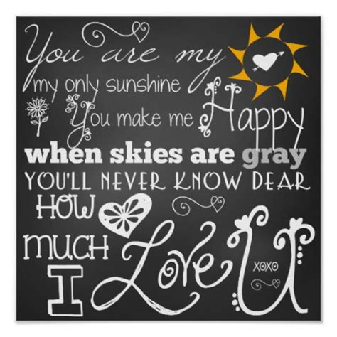 you are my sunshine chalkboard look print by longfellowdesigns you are my sunshine chalkboard look poster zazzle