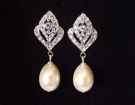 braut ohrringe tropfen bridal earrings pearl wedding earrings vintage style