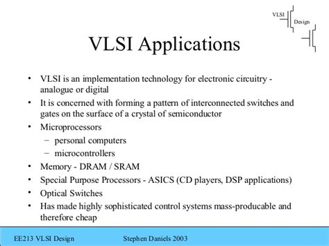 vlsi design application ee213 vlsi introduction