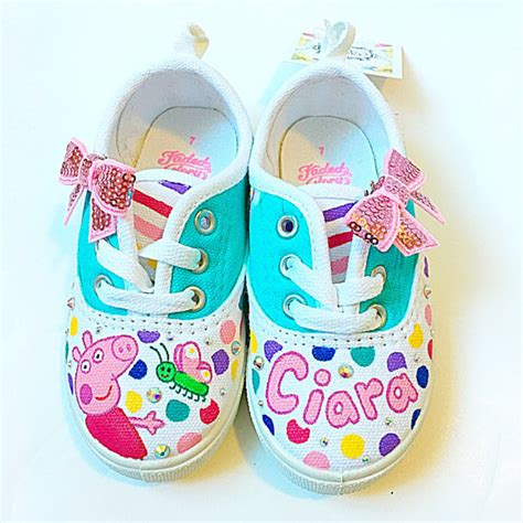 Baby Shoes Sneakers Peppa Pig Import custom peppa pig canvas shoes toddler birthday shoes