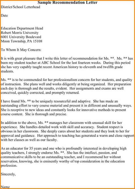 recommendation letter for student from template 5 sle reference letter for student from