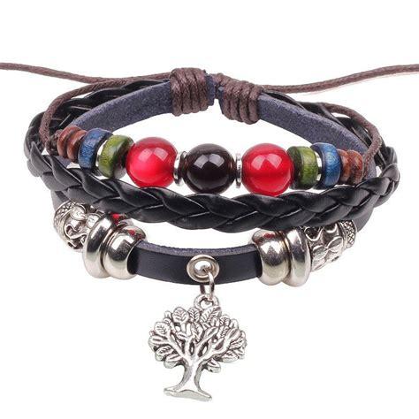 Handmade Bracelets Australia - handmade pu leather bracelet colourful tribal tree of