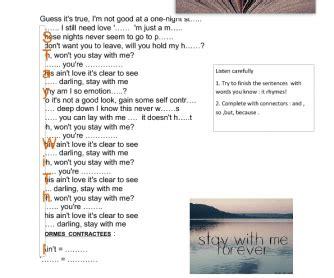 printable lyrics sam smith stay with me song worksheet stay with me by sam smith