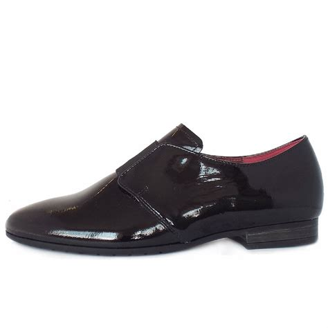 wide fit loafers womens gabor citizen s black patent flat shoes wide fit