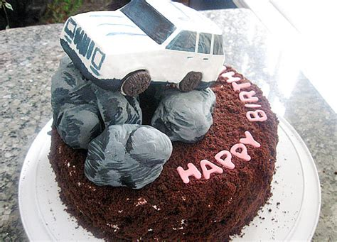 happy birthday jeep cake devil s food white out cake