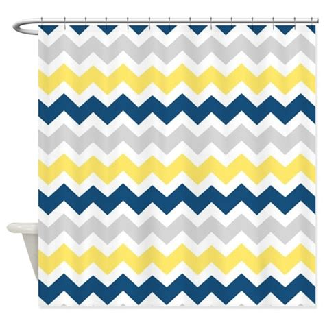 blue yellow shower curtain yellow blue grey chevron stripes shower curtain by