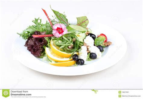 Flower Foods Stock Plate Of Fine Dining Meal Fresh Salad Stock Image Image