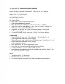 Job description for resume samples of resumes housekeeping job duties