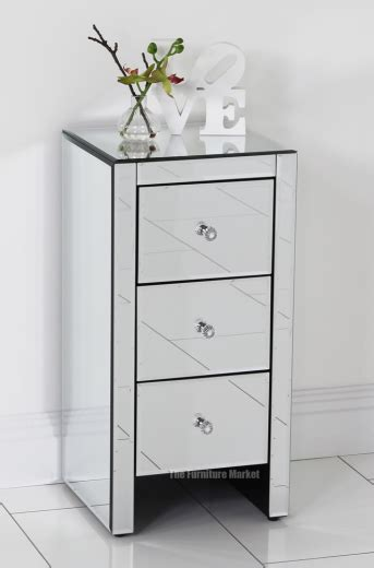 Venetian Glass Bedroom Furniture Venetian Mirrored Glass 3 Drawer Slim Bedside Table Bedroom Furniture Ven52 Ebay