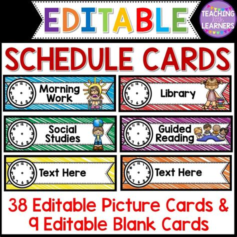 Daily Schedule Cards Template by Schedule Cards Editable