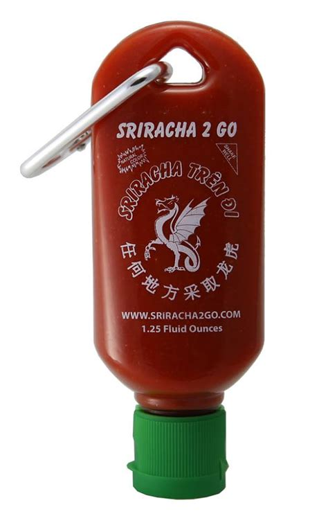 sauce keychain tiny refillable bottle of sriracha that clips to your