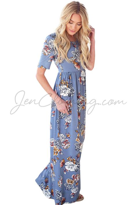 Modest Maxi Dresses by Miranda Modest Maxi Dress In Sky Blue W Multicolor Floral