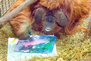 painting of zoo animals ape and together at woodland park zoo the