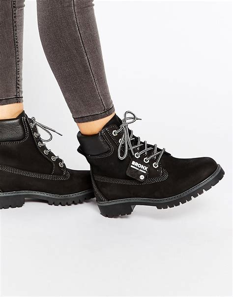 bronx bronx chunky lace up leather ankle boots at asos