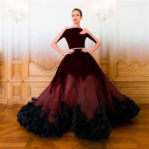 Big Skirt 2015 stunning vestido de festa burgundy velvet sheer see through sleeve big skirt evening