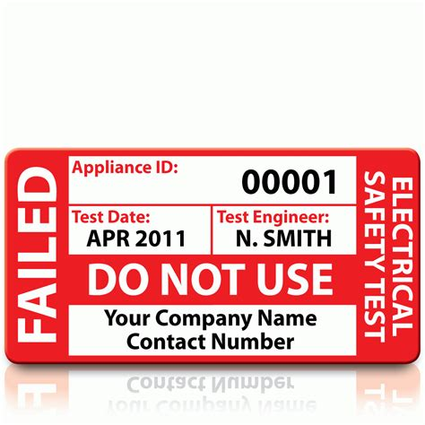 Buy Personalised Failed Pat Test Labels Standard Size Pat Stickers Test Label Template