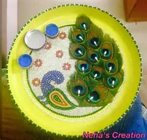 Polymer Clay Home Decor aarti thali decoration ideas for janmashtami pooja thali