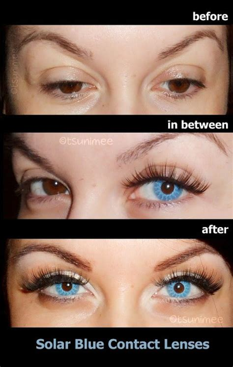 colored contacts for before and after 001 solar blue contact lenses before after on brown
